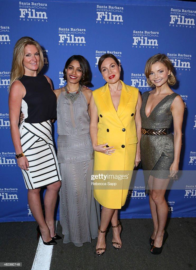 Producer Sarah Arison actor Freida Pinto producer Fabiola Beracasa and Izabella Miko attend the 30th Santa Barbara International Film Festival...