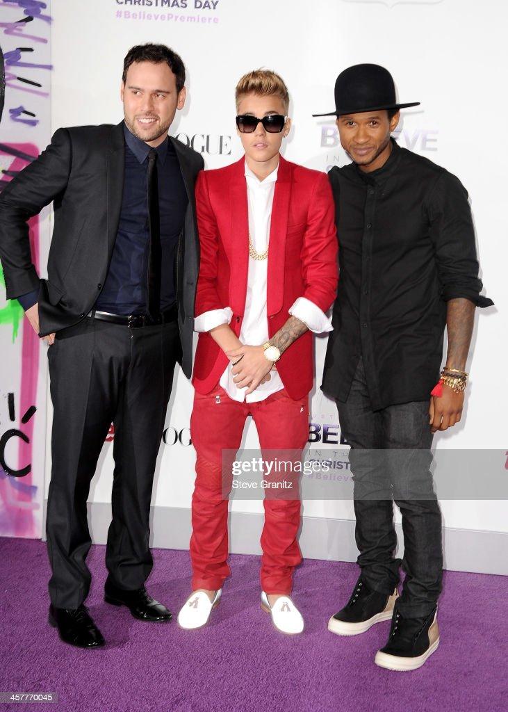 Producer Scooter Braun Producer/singers Justin Bieber and Usher attend 'Justin Bieber's Believe' world premiere at Regal Cinemas LA Live on December...
