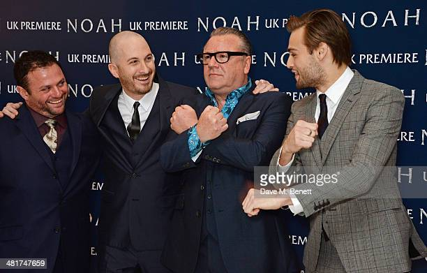 Producer Scott Franklin Darren Aronofsky Ray Winstone and Douglas Booth attend the UK Premiere of 'Noah' at Odeon Leicester Square on March 31 2014...