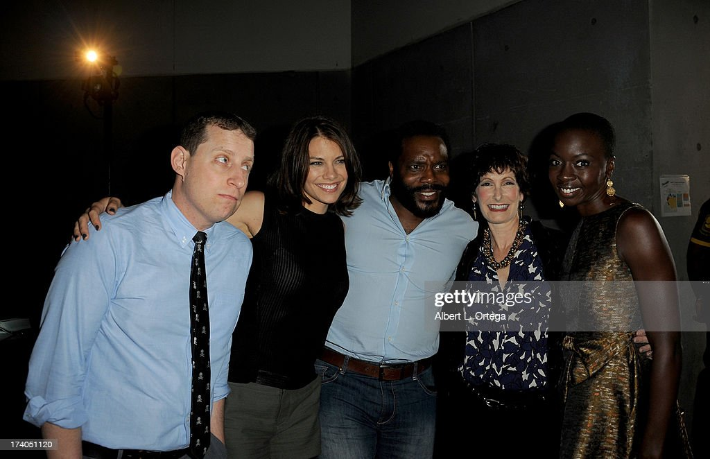 Producer Scott Gimple, actress Lauren Cohan, Chad L. Coleman, Danai Gurira (R) and producer Gale Anne Hurd (2nd from R) speak onstage at AMC's 'The Walking Dead' panel during Comic-Con International 2013 at San Diego Convention Center on July 19, 2013 in San Diego, California.