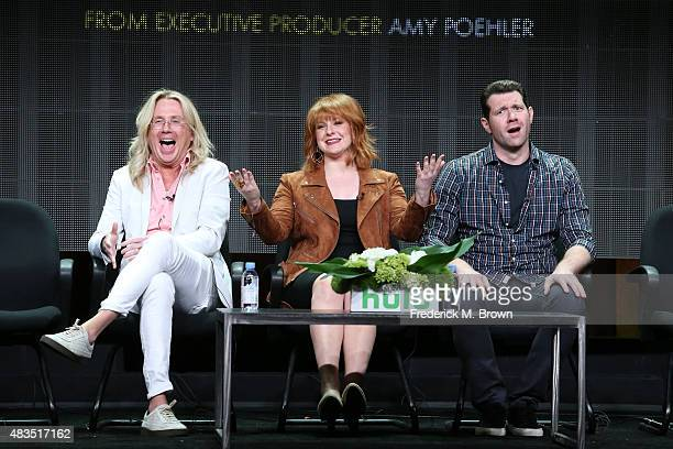 Producer Scott King writer/director/actress Julie Klausner and actor Billy Eichner speak onstage during the 'Difficult People' panel discussion at...