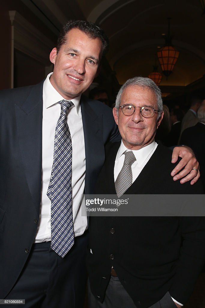 "Producer Scott Stuber and Vice Chairman of NBCUniversal Ron Meyer attend the 2016 Will Rogers ""Pioneer of the Year"" Dinner Honoring Donna Langley at..."