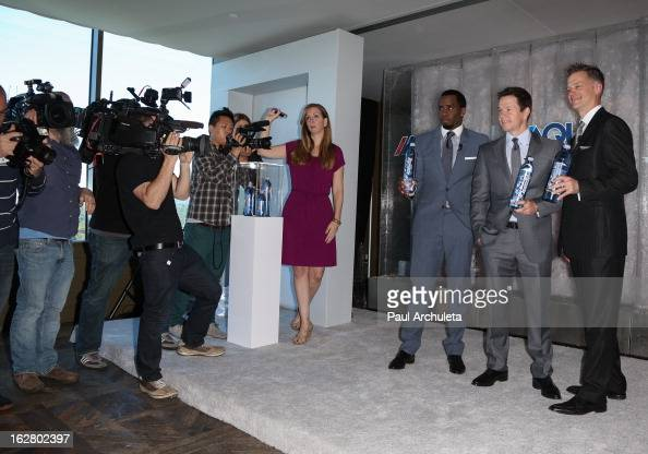 Producer Sean Combs Actor Mark Wahlberg and CEO of AQUAhydrate John Cochran announce a new business venture on February 27 2013 in Los Angeles...