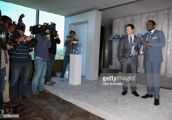 Producer Sean Combs and Actor Mark Wahlberg announce a new business venture on February 27 2013 in Los Angeles California
