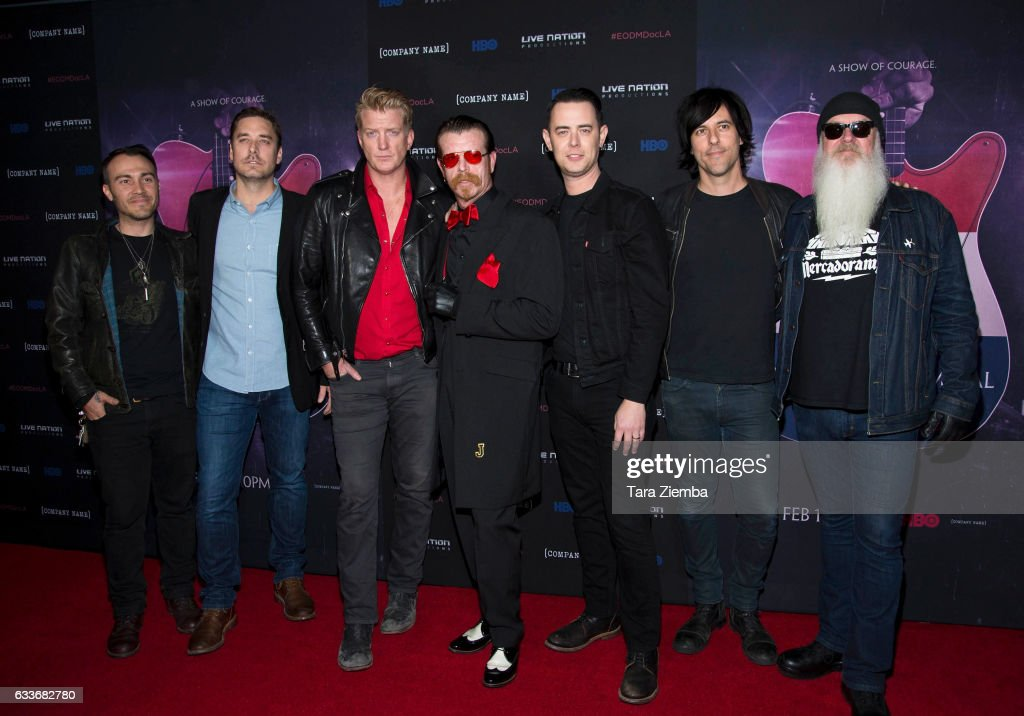 Producer Sean Stuart (2nd L), Director Colin Hanks (C) and rock band Eagles Of Death Metal attend the premiere of HBO's 'Eagles Of Death Metal: Nos Amis (Our Friends)' at Avalon Hollywood on February 2, 2017 in Los Angeles, California.
