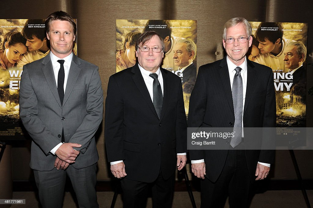 Producer Shaun Schmidt, director Mark Schmidt and producer Randy Williams attend the 'Walking With The Enemy' screening at Dolby 88 Theater on March 31, 2014 in New York City.