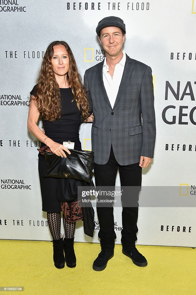 Producer Shauna Robertson (L) and actor Edward Norton attend the National Geographic Channel 'Before the Flood' screening at United Nations Headquarters on October 20, 2016 in New York City.