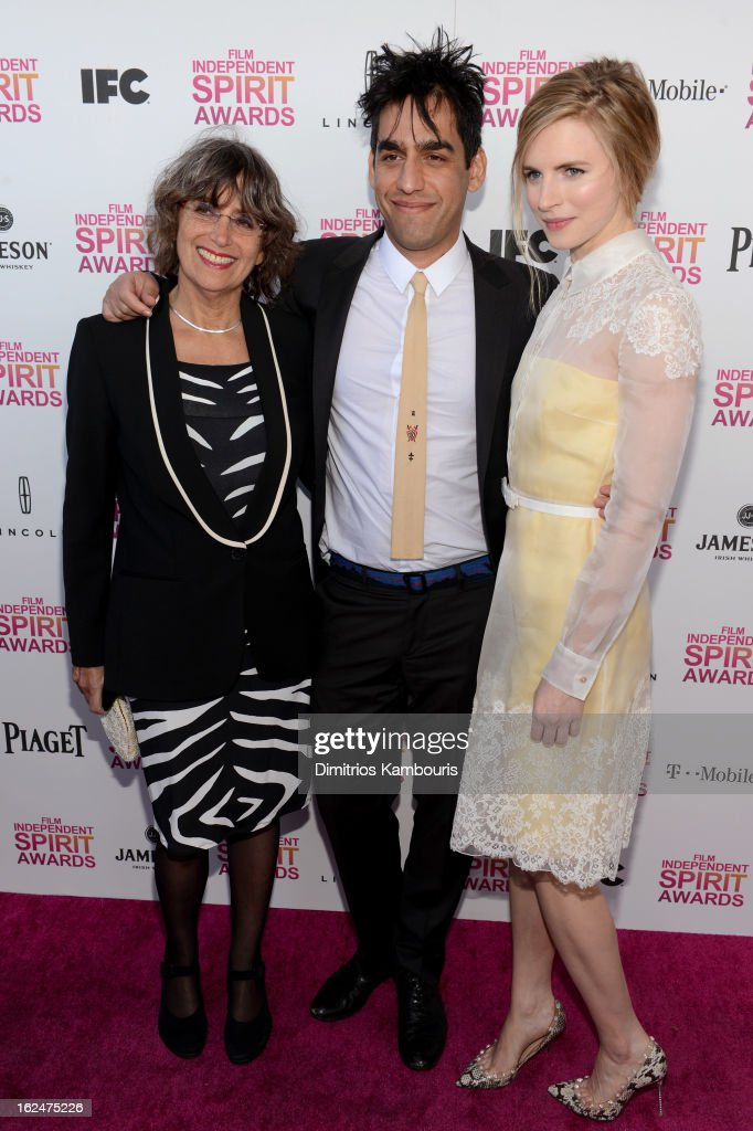 Producer Shelley Surpin, Director Zal Batmanglij, and actress Brit Marling arrive with Jameson prior to the 2013 Film Independent Spirit Awards at Santa Monica Beach on February 23, 2013 in Santa Monica, California.