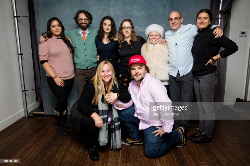 Producer Shivani Rawat, director Wally Wolodarsky, actress Jenny Slate, producer Monica Levinson, director Maya Forbes, actor Jack Black, actress Jacki Weaver, actor Willie Garson, and Priyanka Mattoo, from the film The Polka King, are photographed at the 2017 Sundance Film Festival for Los Angeles Times on January 22, 2017 in Park City, Utah. PUBLISHED IMAGE.