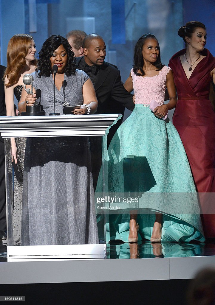 Producer Shondra Rhimes and actress Kerry Washington speak onstage during the 44th NAACP Image Awards at The Shrine Auditorium on February 1, 2013 in Los Angeles, California.