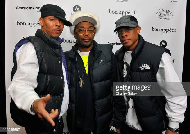 Producer Solar director Spike Lee and rapper Guru of Gang Starr at the Bon Appetit Supper Club 'Passing Strange' Dinner on January 16 2009 in Park...