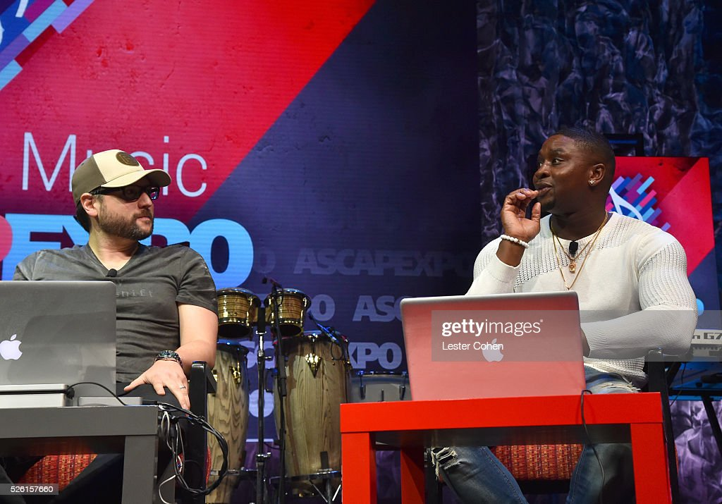 Producer Andrew Cedar (L) and producer, songwriter Harmony Samuels speak onstage at attend the 2016 ASCAP 'I Create Music' EXPO on April 29, 2016 in Los Angeles, California.