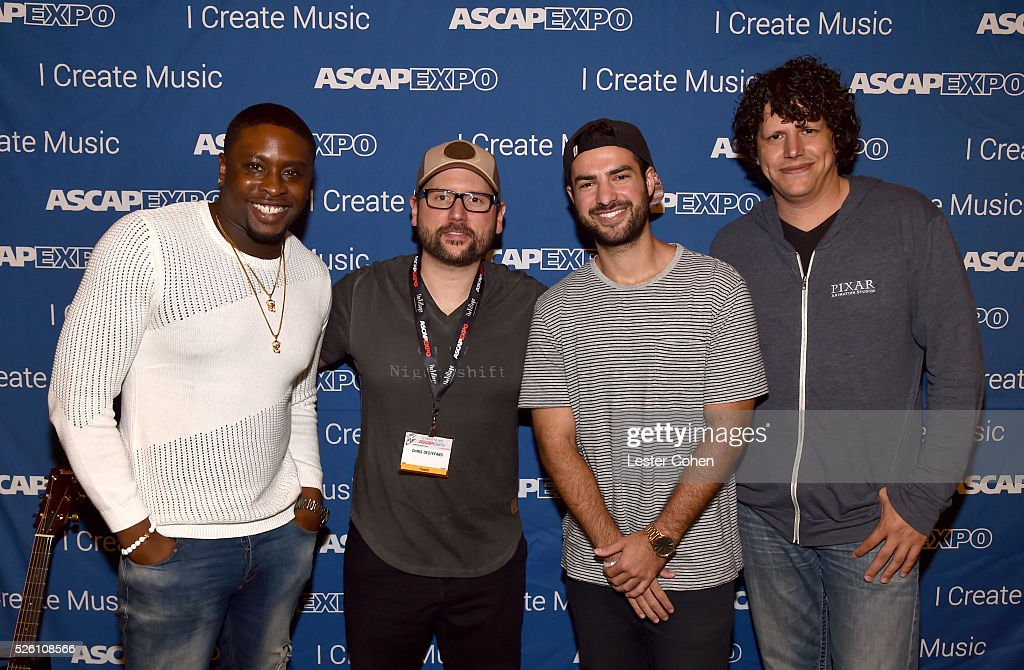 Producer, songwriters Harmony Samuels and Chris DeStefano, producer Andrew Cedar and LANDR Sr. Audio Engineer, Producer Daniel Rowland attend the 2016 ASCAP 'I Create Music' EXPO on April 29, 2016 in Los Angeles, California.