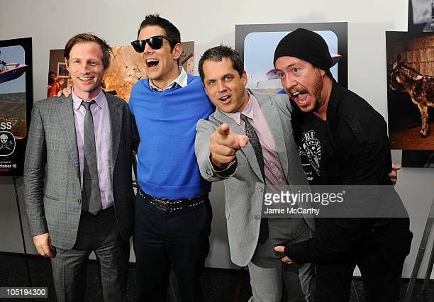 Producer Spike Jonze Johnny Knoxville Director Jeff Tremaine and Ehren McGhehey attend the premiere of 'Jackass 3D' at The Museum of Modern Art on...