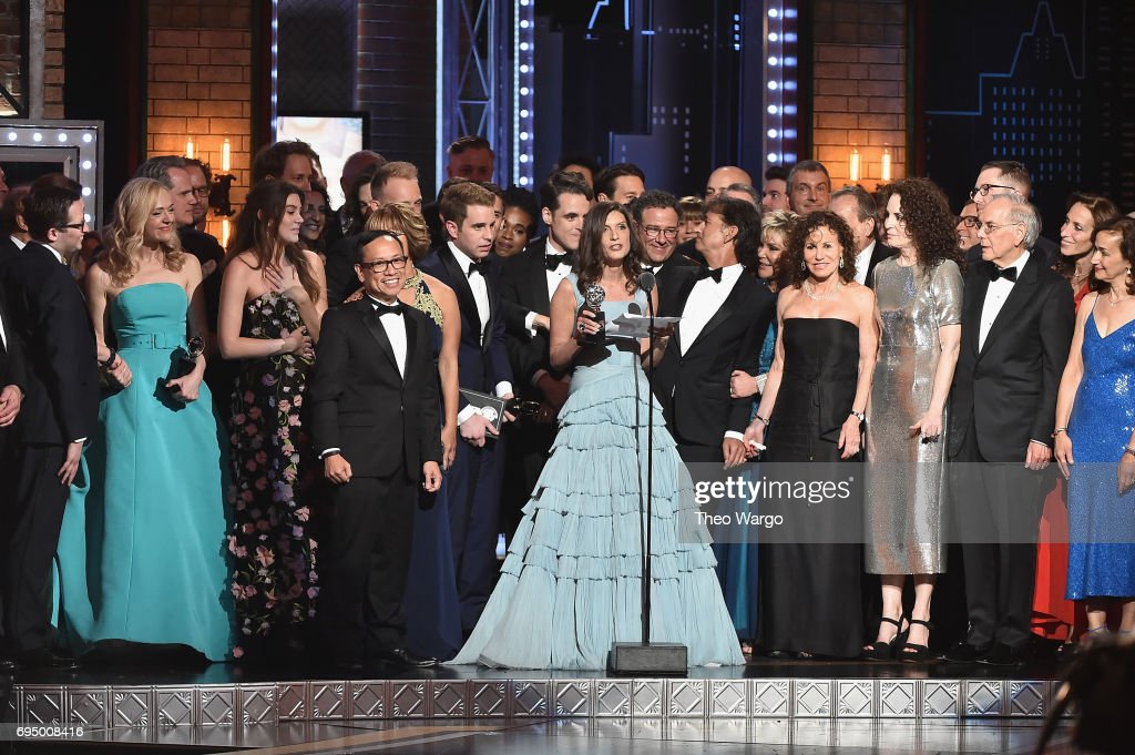 "Producer Stacey Mindich and the cast of 'Dear Evan Hansen"" accept the award for Best Musical onstage during the 2017 Tony Awards at Radio City Music Hall on June 11, 2017 in New York City."