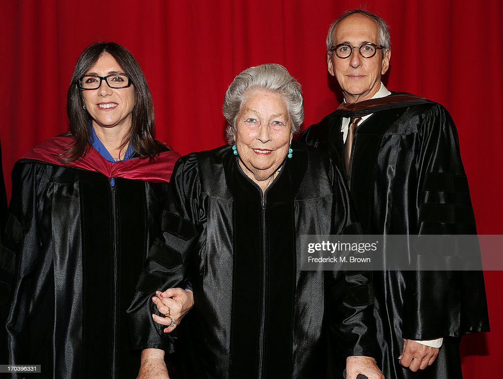 Producer <a gi-track='captionPersonalityLinkClicked' href=/galleries/search?phrase=Stacey+Sher&family=editorial&specificpeople=2082596 ng-click='$event.stopPropagation()'>Stacey Sher</a>, film editor Anne V. Coates and producer <a gi-track='captionPersonalityLinkClicked' href=/galleries/search?phrase=Michael+Shamberg&family=editorial&specificpeople=861594 ng-click='$event.stopPropagation()'>Michael Shamberg</a> attend the 2013 AFI Conservatory Commencement Ceremony at the El Capitan Theatre on June 12, 2013 in Hollywood, California.