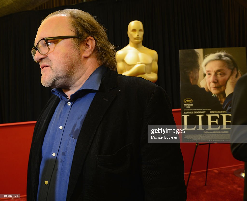 Producer Stefan Arndt of the film 'Amour,' nominee for the Foreign Language Film Award, speaks to journalists at the Foreign Language Film Award Photo-Op for the 85th Annual Academy Awards at Hollywood & Highland Center on February 22, 2013 in Hollywood, California.