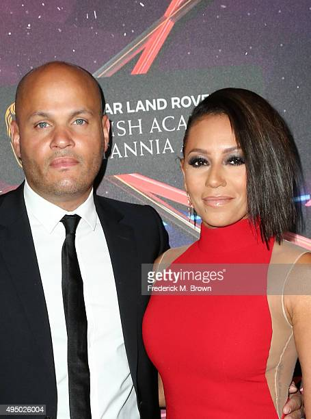 Producer Stephen Belafonte and recording artist Mel B attend the 2015 Jaguar Land Rover British Academy Britannia Awards presented by American...