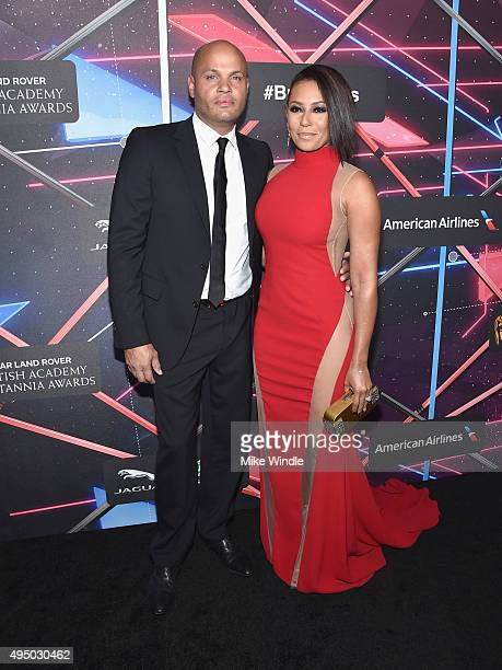 Producer Stephen Belafonte and recording artist/TV personality Mel B attend the 2015 Jaguar Land Rover British Academy Britannia Awards presented by...