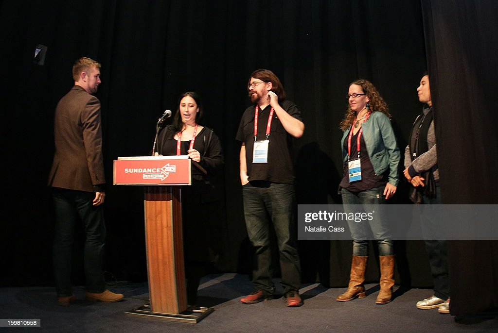 Producer Stephen Dotson. directors Audrey Ewell, Aaron Aites and Nina Krstic speak onstage during the '99% - The Occupy Wall Street Collaborative Film' premiere at Egyptian Theatre during the 2013 Sundance Film Festival on January 20, 2013 in Park City, Utah.