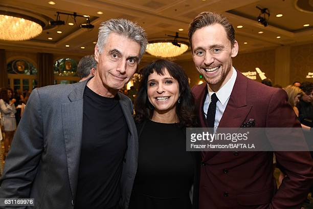 Producer Stephen Garrett Director Susanne Bier and Actor Tom Hiddleston attend The BAFTA Tea Party at Four Seasons Hotel Los Angeles at Beverly Hills...