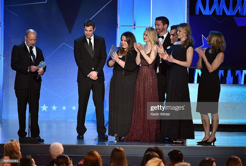 Producer Steve Golin, screenwriter Josh Singer, producer Nicole Rocklin, actress Rachel McAdams, editor Tom McArdle and producer Blye Pagon Faust accept the Best Picture award for 'Spotlight' onstage during the 21st Annual Critics' Choice Awards at Barker Hangar on January 17, 2016 in Santa Monica, California.