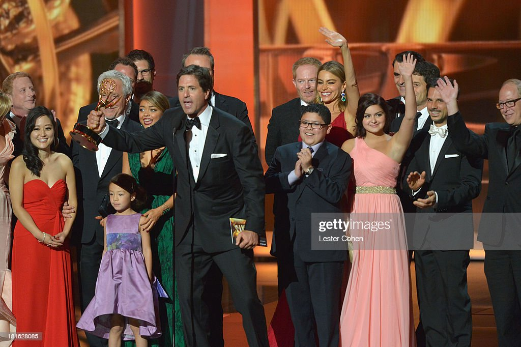 Producer Steve Levitan (C) speaks onstage during the 65th Annual Primetime Emmy Awards held at Nokia Theatre L.A. Live on September 22, 2013 in Los Angeles, California.