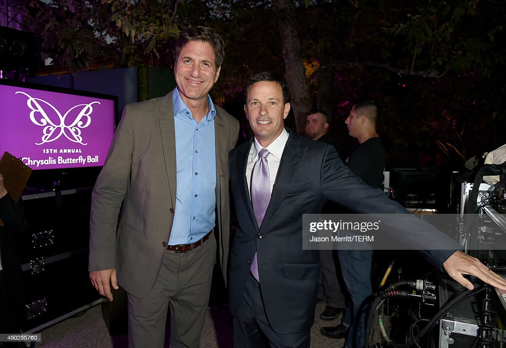Producer Steven Levitan (L) and Spirit of Chrysalis Award recipient Jay Sures inside the 13th Annual Chrysalis Butterfly Ball sponsored by Audi, Kayne Anderson and Stella Artois on June 7th, 2014.