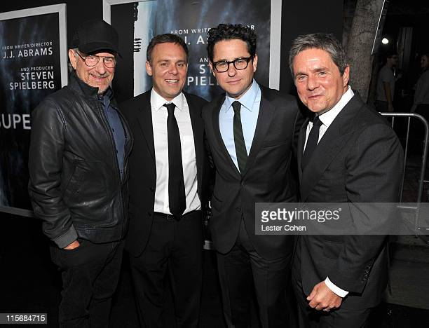 Producer Steven Spielberg producer Bryan Burk writer/director JJ Abrams and Chairman and Chief Executive Officer of Paramount Pictures Corporation...