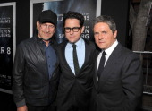 Producer Steven Spielberg writer/director JJ Abrams and Chairman and Chief Executive Officer of Paramount Pictures Corporation Brad Grey arrive at...