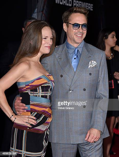 Producer Susan Downey and Actor Robert Downey Jr attend the premiere of Marvel's 'Avengers Age Of Ultron' at Dolby Theatre on April 13 2015 in...