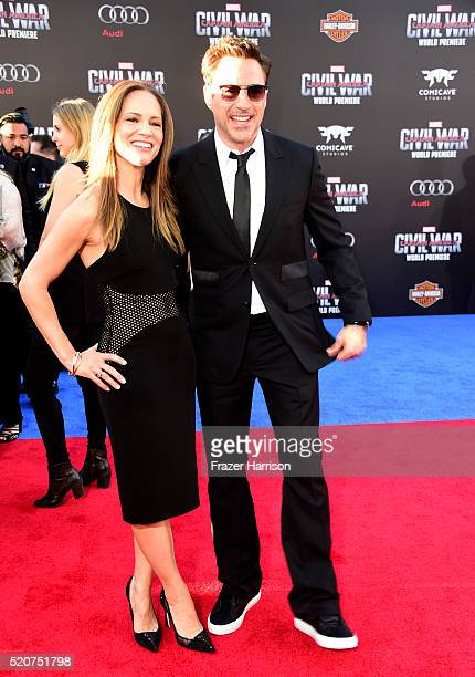 Producer Susan Downey and actor Robert Downey Jr attends the premiere of Marvel's 'Captain America Civil War' at Dolby Theatre on April 12 2016 in...