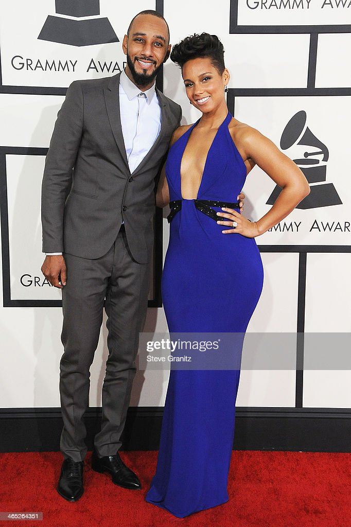 Producer Swizz Beatz and recording personality Alicia Keys attend the 56th GRAMMY Awards at Staples Center on January 26 2014 in Los Angeles...