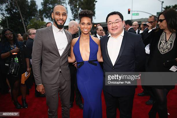 Producer Swizz Beatz recording artist Alicia Keys and Owner EMI Music Publishing and Chairman EMI Music Publishing Asia Jho Low attend the 56th...