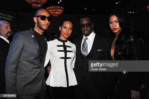 Producer Swizz Beatz singer Alicia Keys producer Sean 'Diddy' Combs and singer Cassie attend Clive Davis and The Recording Academy's 2012 PreGRAMMY...