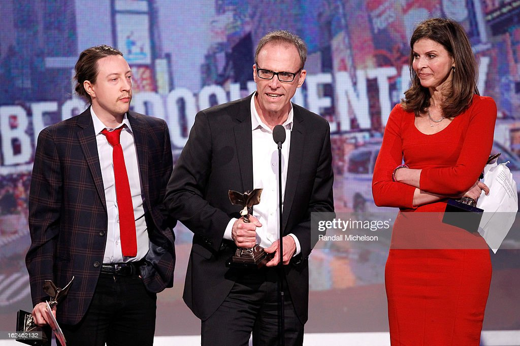 Producer Tenner King Barklow filmmaker Kirby Dick and producer Amy Ziering speak onstage during the 2013 Film Independent Spirit Awards at Santa...