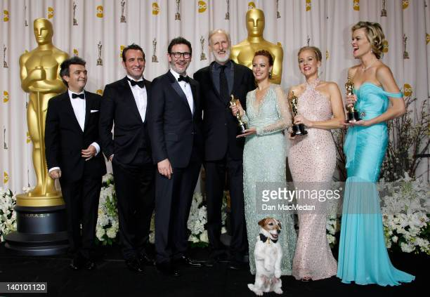 Producer Thomas Langmann actor Jean Dujardin director Michel Hazanavicius actors James Cromwell Berenice Bejo Uggie the dog Penelope Ann Miller and...