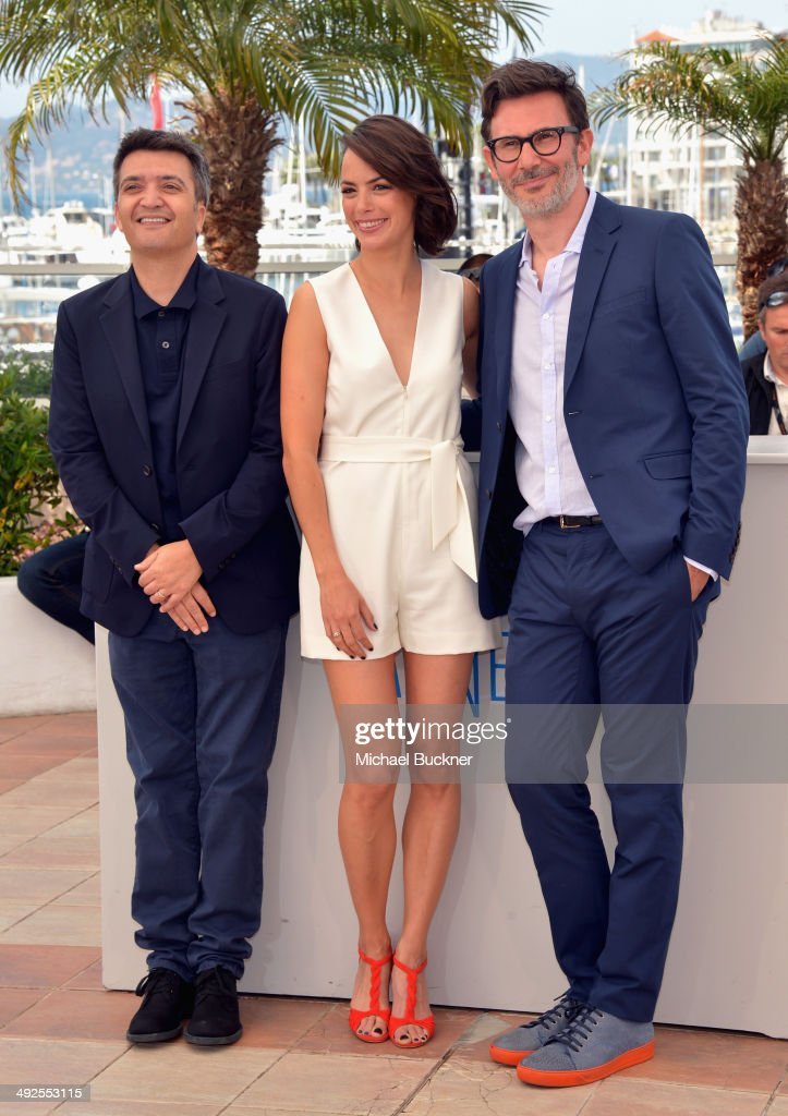 Producer Thomas Langmann actress Berenice Bejo and director Michel Hazanavicius attend 'The Search' photocall at the 67th Annual Cannes Film Festival...