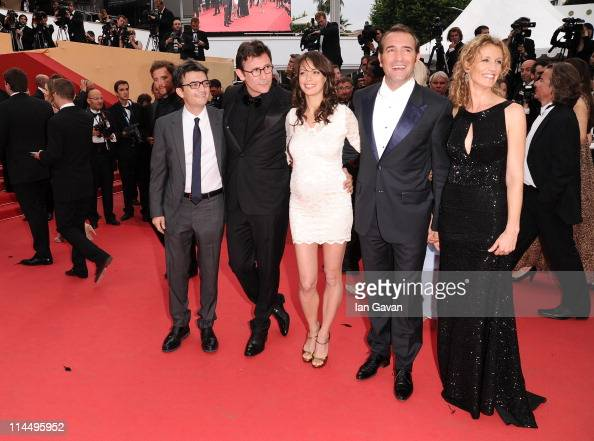 Producer Thomas Langmanndirector Michel Hazanaviciusactress Berenice Bejoactor Jean Dujardin with Alexandra Lamy attend the 'Les BienAimes' premiere...