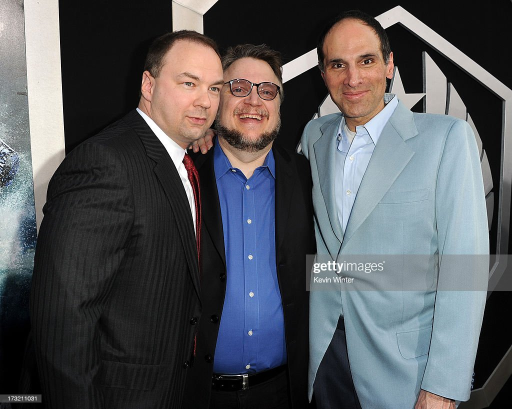 Producer Thomas Tull, filmmaker Guillermo del Toro and President and Chief Creative Officer of Legendary Entertainment Jon Jashni arrive at the premiere of Warner Bros. Pictures' and Legendary Pictures' 'Pacific Rim' at Dolby Theatre on July 9, 2013 in Hollywood, California.