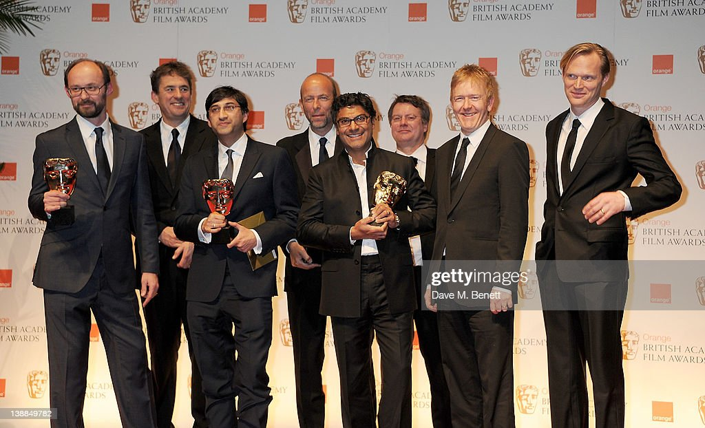 Producer Tim Bevan director Asif Kapadia producer Eric Fellner screenwriter Manish Pandey editor Chris King and presenter Paul Bettany pose in the...