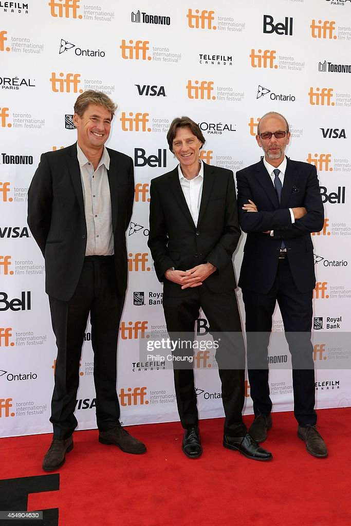 Producer Tim Bevan director James Marsh and producer Eric Fellner attend the premiere of 'The Theory Of Everything' during the 2014 Toronto...