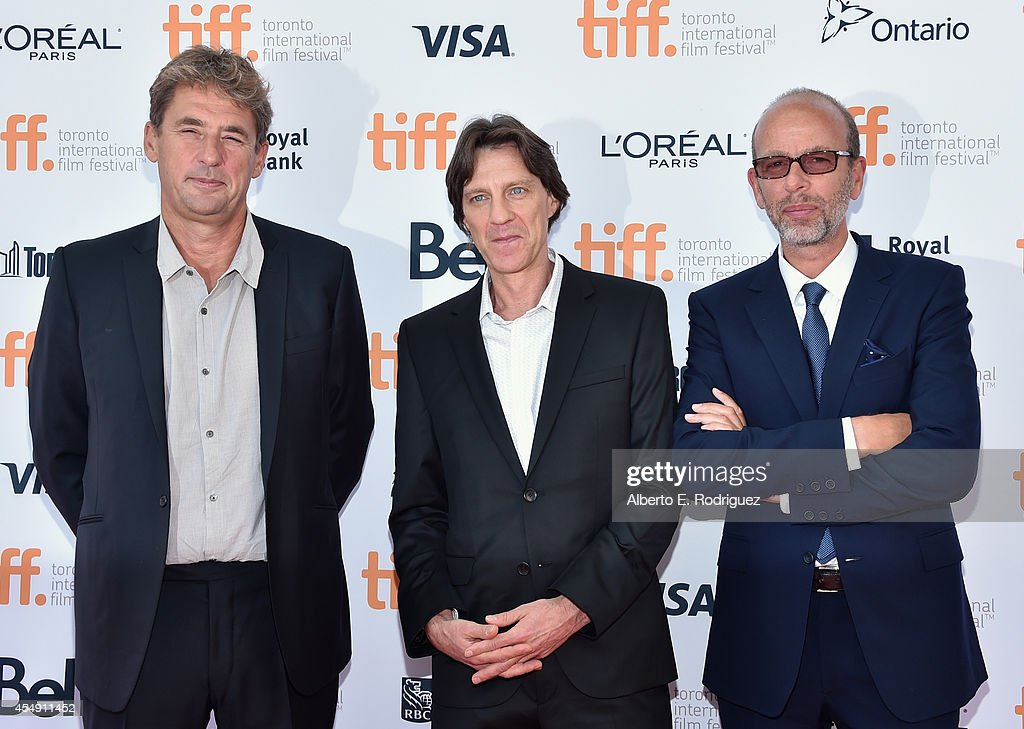 Producer Tim Bevan director James Marsh and producer Eric Fellner attend 'The Theory Of Everything' premiere during the 2014 Toronto International...