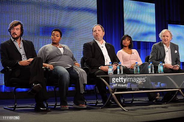 Producer Tim Bricknell singer Jill Scott producer Harvey Weinstein actress Anika Noni Rose and writer Alexander McCall Smith speak during HBO's 2009...