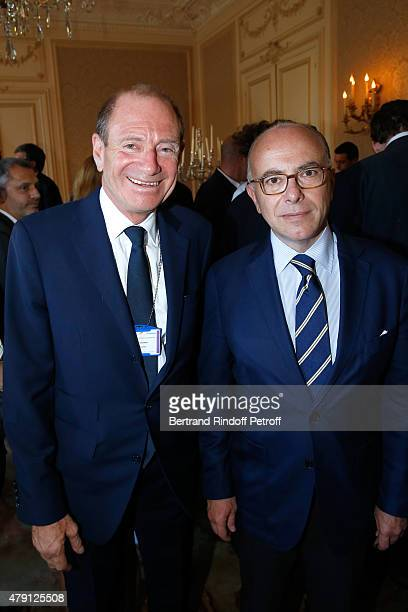 Producer Tim Newman and French 'Ministre de l'Interieur' Bernard Cazeneuve attend the 'Une Nuit avec la Police et la Gendarmerie' France 2 TV Show...