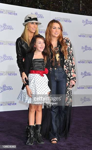 Producer Tish Cyrus and daughters Noah Cyrus and actress/singer Miley Cyrus arrive at the premiere of Paramount Pictures' 'Justin Bieber Never Say...