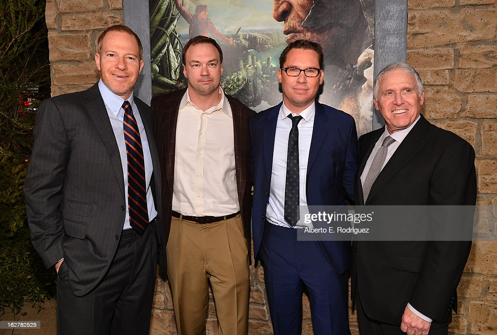 Producer Toby Emmerich, Legendary Entertainment Thomas Tull, director Bryan Singer, and Warner Bros. Pictures Distribution President Dan Fellman attend the premiere of New Line Cinema's 'Jack The Giant Slayer' at TCL Chinese Theatre on February 26, 2013 in Hollywood, California.