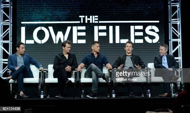 Producer Tom Forman Matthew Lowe executive producer Rob Lowe John Owen Lowe and producer Jon Beyer of 'The Lowe Files' speak onstage during the AE...