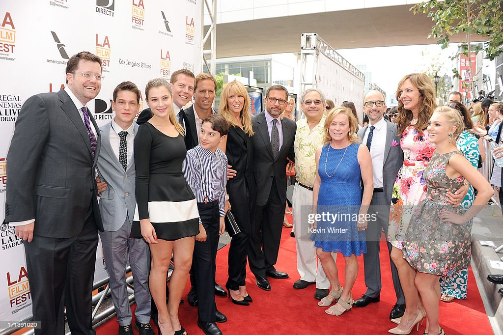 Producer Tom Rice, actors Liam James, Zoe Levin, producer Kevin J. Walsh, actor River Alexander, filmmaker <a gi-track='captionPersonalityLinkClicked' href=/galleries/search?phrase=Nat+Faxon&family=editorial&specificpeople=734812 ng-click='$event.stopPropagation()'>Nat Faxon</a>, actors <a gi-track='captionPersonalityLinkClicked' href=/galleries/search?phrase=Toni+Collette&family=editorial&specificpeople=204673 ng-click='$event.stopPropagation()'>Toni Collette</a>, <a gi-track='captionPersonalityLinkClicked' href=/galleries/search?phrase=Steve+Carell&family=editorial&specificpeople=595491 ng-click='$event.stopPropagation()'>Steve Carell</a>, Fox Searchlight Pictures Presidents <a gi-track='captionPersonalityLinkClicked' href=/galleries/search?phrase=Steve+Gilula&family=editorial&specificpeople=806841 ng-click='$event.stopPropagation()'>Steve Gilula</a>, <a gi-track='captionPersonalityLinkClicked' href=/galleries/search?phrase=Nancy+Utley&family=editorial&specificpeople=705439 ng-click='$event.stopPropagation()'>Nancy Utley</a>, filmmaker <a gi-track='captionPersonalityLinkClicked' href=/galleries/search?phrase=Jim+Rash&family=editorial&specificpeople=742689 ng-click='$event.stopPropagation()'>Jim Rash</a>, actresses <a gi-track='captionPersonalityLinkClicked' href=/galleries/search?phrase=Allison+Janney&family=editorial&specificpeople=206290 ng-click='$event.stopPropagation()'>Allison Janney</a> and <a gi-track='captionPersonalityLinkClicked' href=/galleries/search?phrase=AnnaSophia+Robb&family=editorial&specificpeople=674007 ng-click='$event.stopPropagation()'>AnnaSophia Robb</a> attend the premiere of Fox Searchlight Pictures' 'The Way, Way Back' at Regal Cinemas L.A. Live on June 23, 2013 in Los Angeles, California.