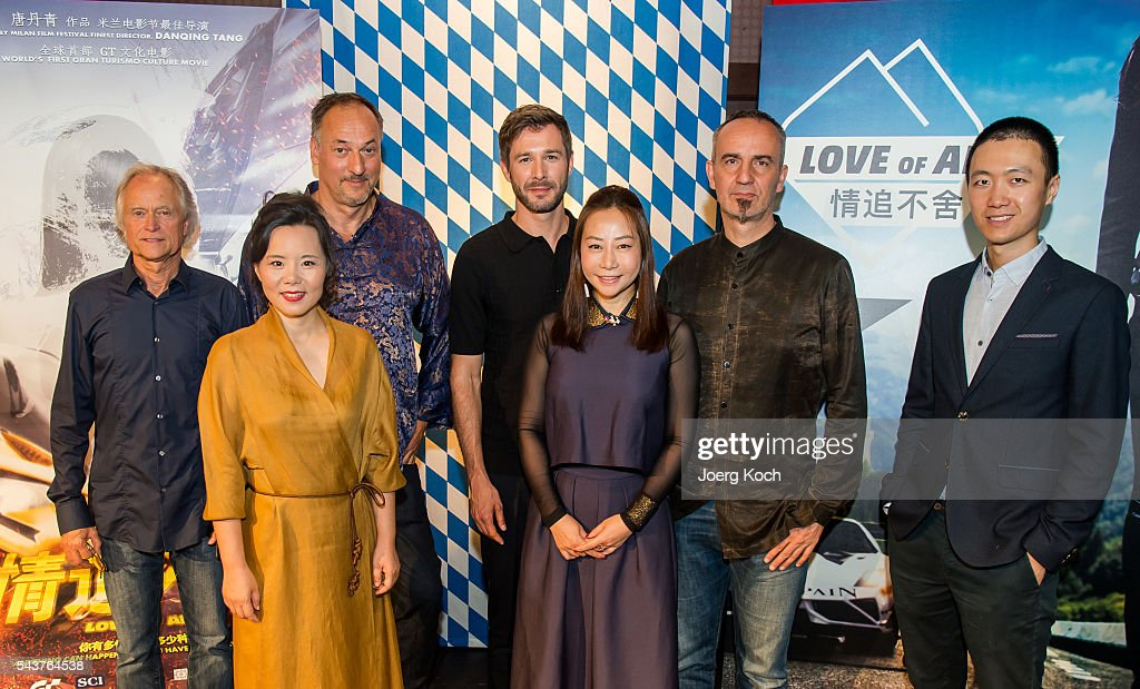 Producer Tom Wommer (L-R), singer Gong Linna, producer Helmut Hartl, actor <a gi-track='captionPersonalityLinkClicked' href=/galleries/search?phrase=Jochen+Schropp&family=editorial&specificpeople=4480271 ng-click='$event.stopPropagation()'>Jochen Schropp</a>, director Danqing Tang, composer Robert Zollitsch (in China known as Lao Luo) and director Steven Ye attend a press conference about the movie 'Love of Alps (AT)' during the Munich Film Festival 2016 at Ampere-Muffatwerk on June 30, 2016 in Munich, Germany.